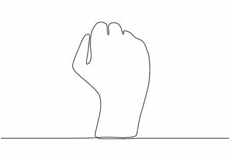 disegno a tratteggio continuo della mano del pugno. Un minimalismo disegnato a mano ribelle, libertà e tema di protesta. Vettoriali