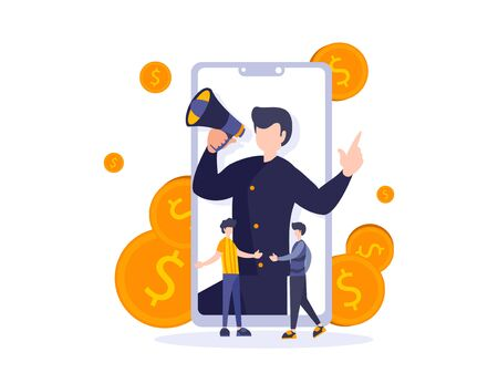 Refer a friend concept. Vector illustration of referral program. Businessman with megaphone on mobile phone screen talking to the buyers and investors. Cooperation work with two person handshake. Ilustracja