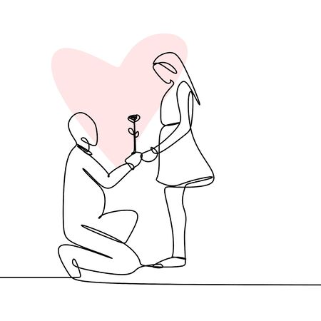 Concept of romantic couple in love continuous line drawing vector illustration Vetores