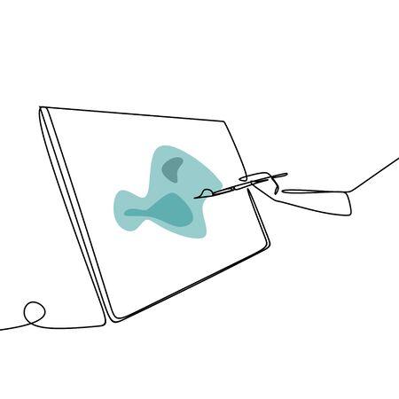Bild eines Strichzeichnungsgemäldes auf einer Leinwand