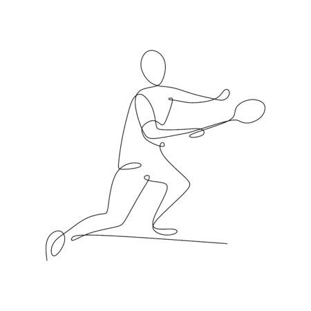 continuous line drawing of a man playing badminton sport game