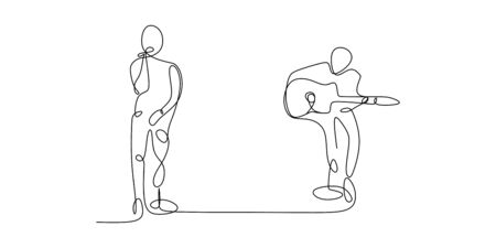 continuous line drawing of a person playing guitar and a guy sing a song