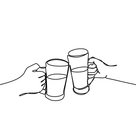 Continuous line drawing of Cheers clinking of friends with bourbon whisky drink in party night after work vector illustration. Çizim