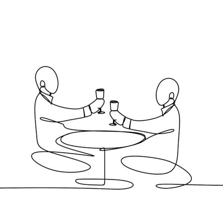 One line drawing of Cheers clinking of two person with bourbon wine drink in party night after work vector illustration.