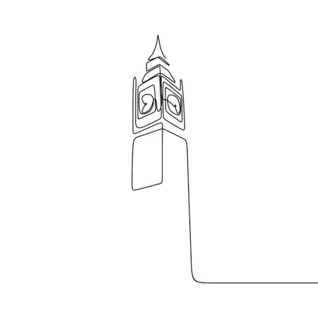 London City of Westminster Big Ben clock tower one line drawing minimalist design