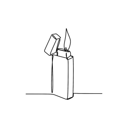 Continuous line drawing of burning a lighter on white background