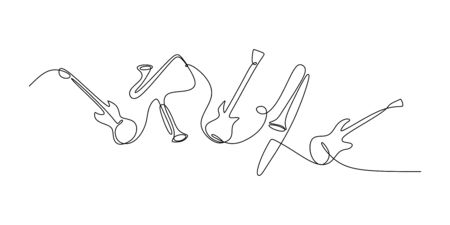 continuous line drawing of jazz instrument. Musical tools of electric guitar, trumpet, violin, bass, and saxophone.