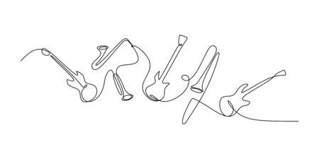 durchgehende Strichzeichnung des Jazzinstruments. Musikinstrumente von E-Gitarre, Trompete, Violine, Bass und Saxophon.