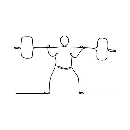 drawing a continuous line of weightlifting position.