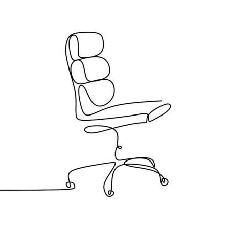 dessin au trait continu de la chaise de travail.