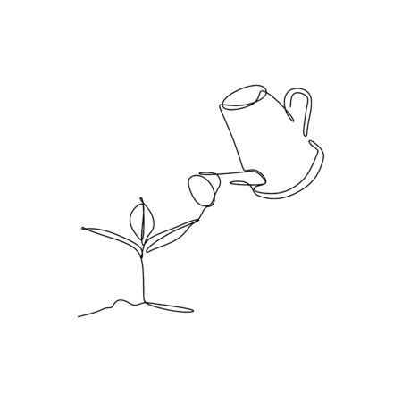 One line drawing watering plants.