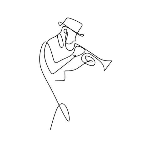 dessin au trait continu de la musique jazz.
