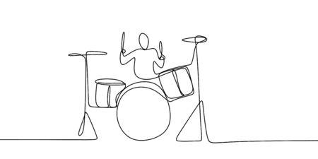 continuous line drawing of men playing musical drum instruments. Vektoros illusztráció