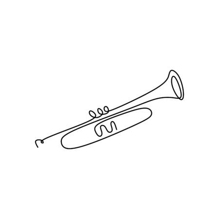continuous line drawing of a jazz instrument.