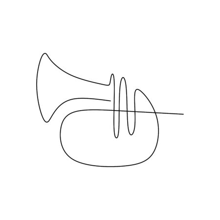 continuous line drawing of jazz musicians playing trumpet music instruments.  イラスト・ベクター素材