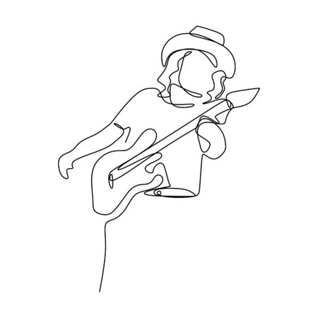 picture of a continuous line of rocker guitarist players.