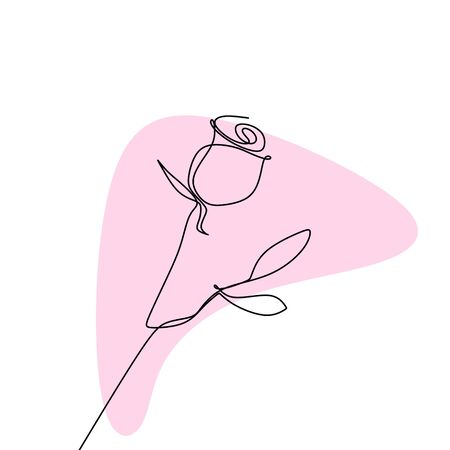 continuous line drawing of a rose.