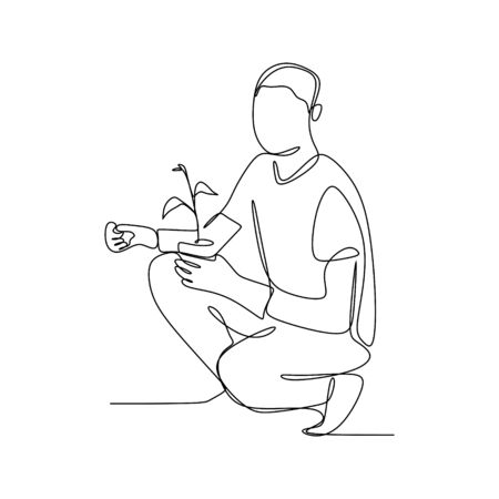 continuous line drawing of a man holding a plant.