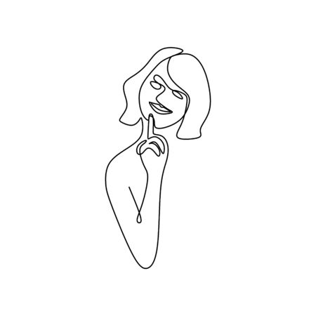 continuous line image continues to model.minimalist face.