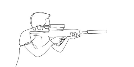 one line drawing of a person using gun sot shot. Sniper concept design.