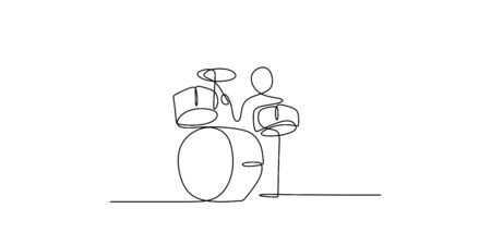 continuous line drawing of men playing musical drum instruments.