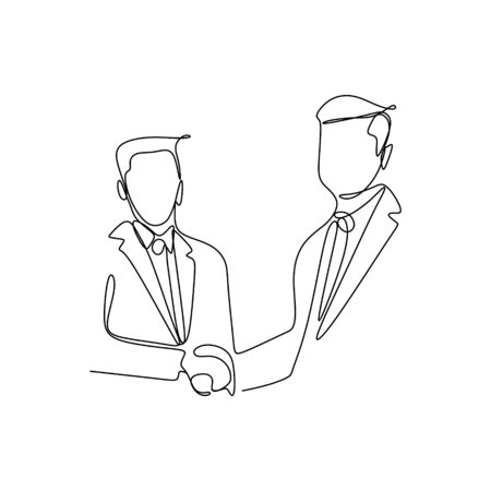 continuous line drawing of business meetings with handshakes. Illustration