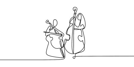 continuous line drawing of two people playing classical musical instruments.
