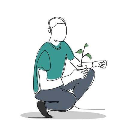 continuous one line drawing of a man holding a plant.