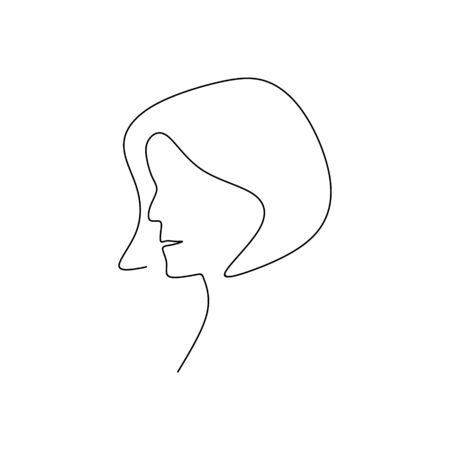 continuous line drawings hold hair female models.