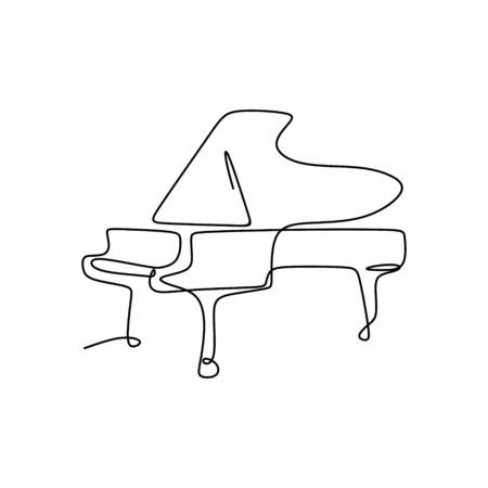Continuous Drawing Line piano music instrument with minimalist design characteristics. 向量圖像