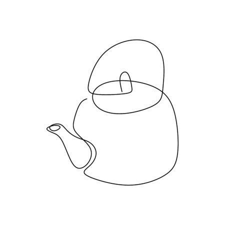 continuous one line drawing of the teapot kitchen appliance. Illustration