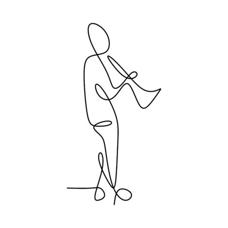 picture of a continuous line of men playing a trumpet.
