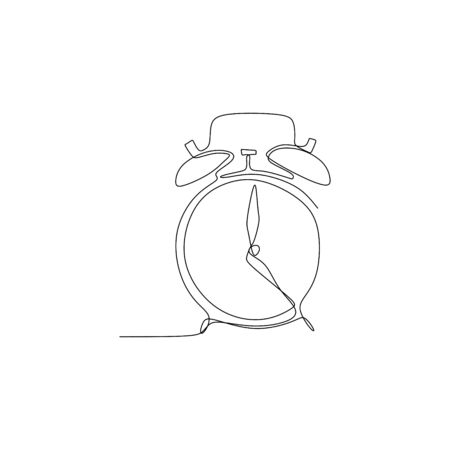One line drawing of the alarm clock.  イラスト・ベクター素材