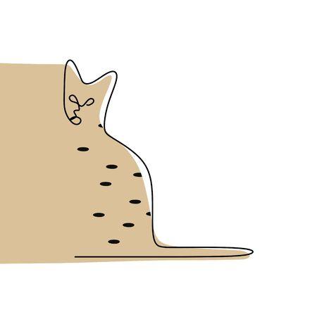 continuous line drawing of minimalist cat animals.  イラスト・ベクター素材
