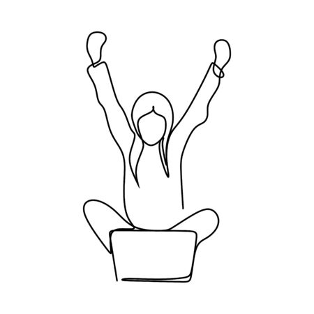drawing a continuous line of office employees successfully completing their work.  イラスト・ベクター素材