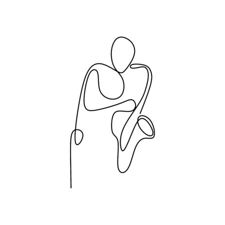 continuous line drawing playing trumpets, with a minimalist, simple design.