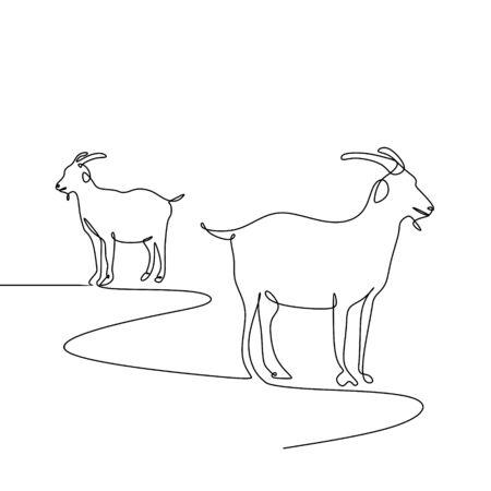goat one line drawing minimalism style