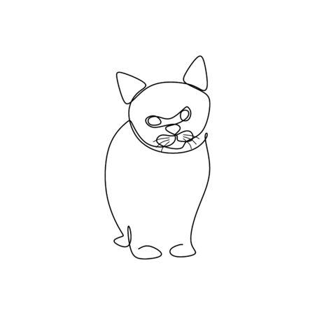 cat one line art  イラスト・ベクター素材
