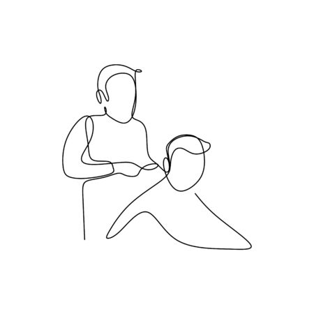 one line drawing and the hair cutter is tidying up the hair to make it cool.