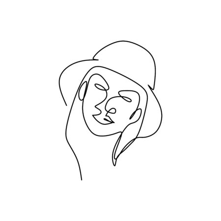 continuous line drawing of hats for summer.