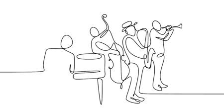 continuous line drawing of jazz music groups.