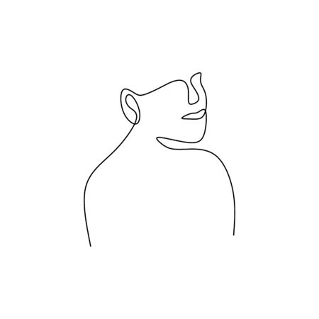 one line continuous drawing of face abstract minimalist design