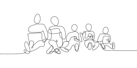 line drawing continuously playing cellphone.