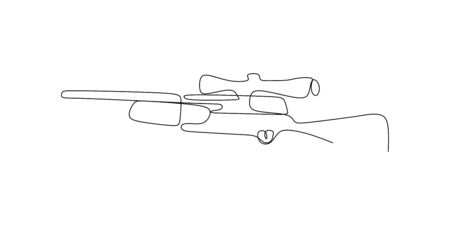 continuous line drawing of sniper gun
