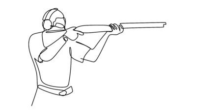 one line drawing of a man holding a gun.