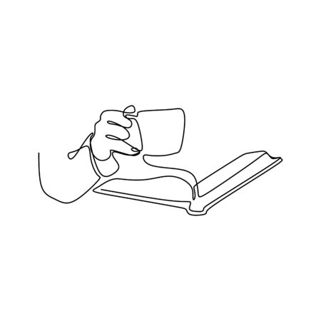 Continuous line drawing reading a book.  イラスト・ベクター素材