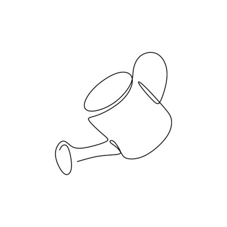 continuous line drawing tool Watering the plants.
