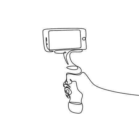 continuous line drawing stick for selfie.  イラスト・ベクター素材