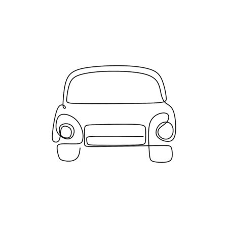 continuous line drawing of classic cars