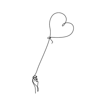 continuous line drawing of hands and love.